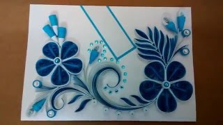 Paper quilling greeting card   Blue