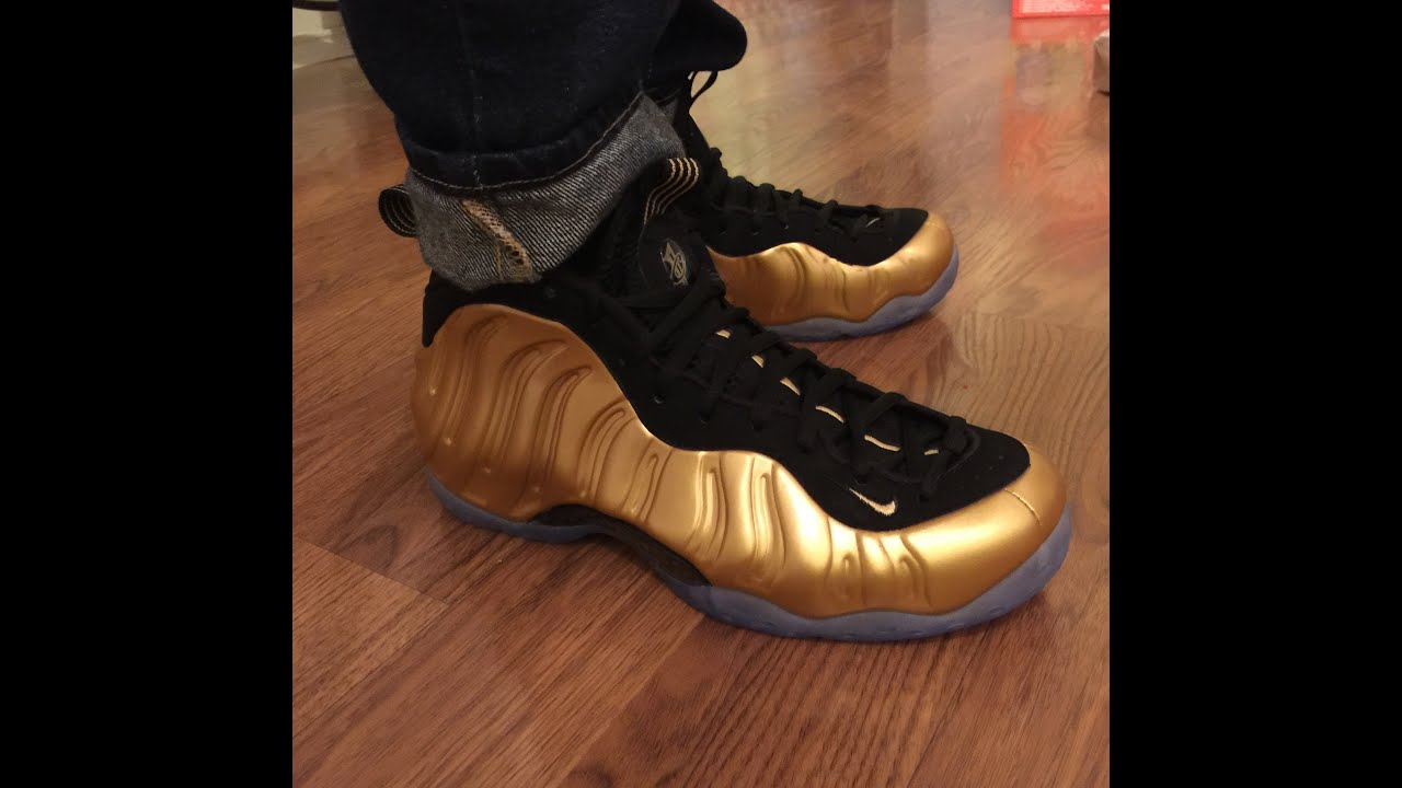 040b853222b Nike Air Foamposite Gold unbox   on feet review - YouTube