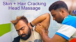 Skin + Hair cracking ASMR Head massage