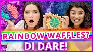 DIY TIE DYE RAINBOW WAFFLES?! Di Dare w/ Shany & Airam from My Dream Quinceañera!