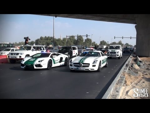 The Dubai Grand Parade - Veyrons, Police Supercars, Ferraris, Lamborghinis
