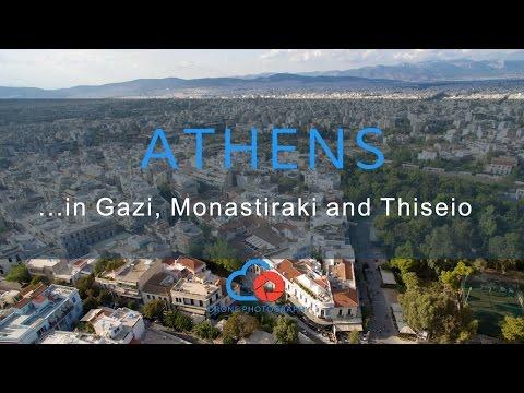 Drone above Athens at Gazi, Monastiraki and Thiseio