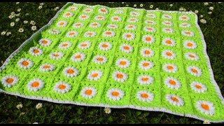 Квадратный мотив крючком с объемной ромашкой для  пледа. Crochet DIY