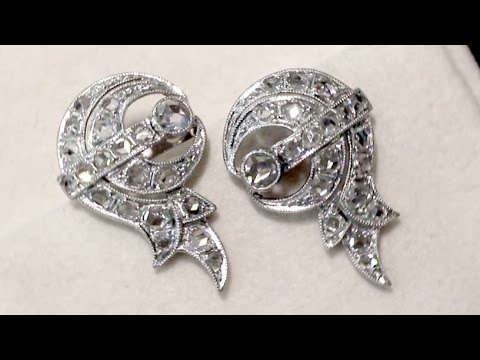 1.46 ct Diamond and Platinum Stud Earrings - Antique Circa 1930 - AC Silver (A6272)