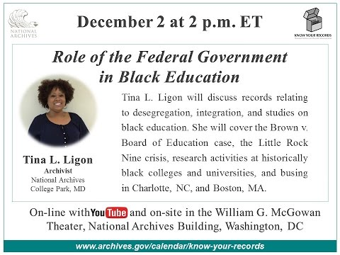 Role of the Federal Government in Black Education  (broadcast 2015 Dec. 2)
