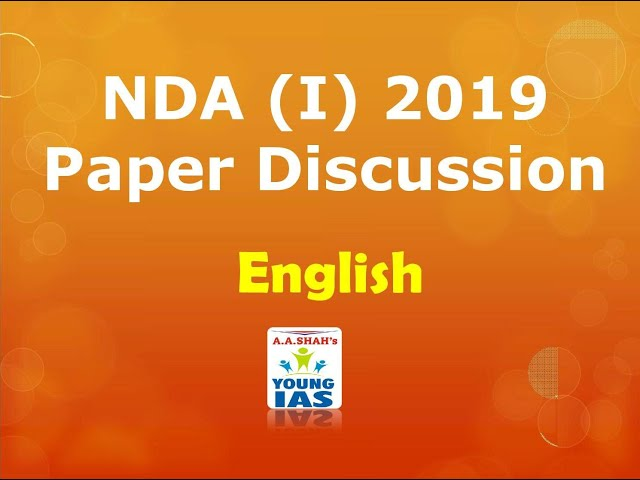 NDA (I) 2019 Paper discussion - English