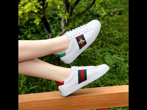 e6e78af81bb GUCCI ACE EMBROIDERED WHITE SNEAKERS WITH BEE REVIEW FROM sneakeronfire.us!!