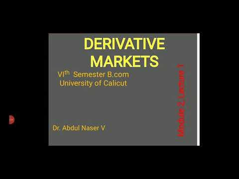 B.com, Financial Derivatives Mod 2, Lec1, Derivative Markets.
