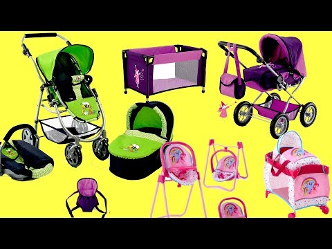 Dolls Nursery Set Pram Stroller Playpen carrier Highchair Little girl and Baby Annabell baby Born