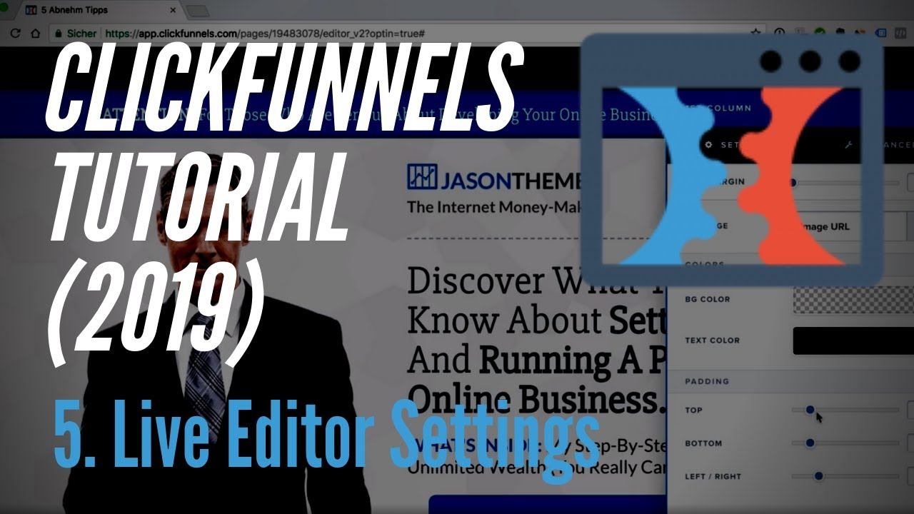 Clickfunnels Tutorial deutsch (2019) - 5. Live Editor Settings