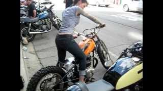 Priscilla rockin my Honda Dirt Bike Bobber