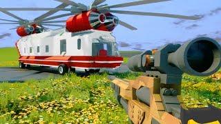 Снайпер против Вертолета - Brick Rigs | Лего Битва