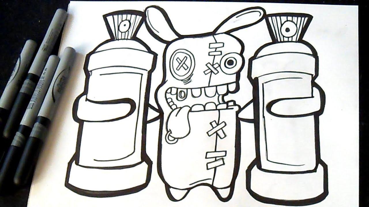 Cómo dibujar un Conejo Loco con dos latas de Spray