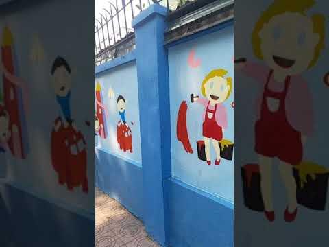 Vẽ tranh tường mầm non – Trường mầm non thực hành Hoa Sen