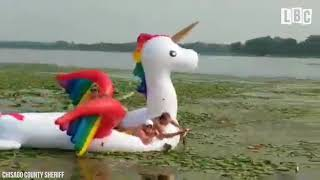 Women Rescued After Getting Stranded On A Floating Unicorn