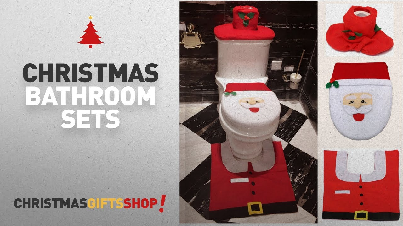 Top Christmas Bathroom Sets Ideas Decorations Happy Santa Toilet Seat Cover And Rug Set