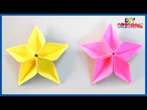 How To Make An Origami Paper Star Flower - DIY Paper Star Flower