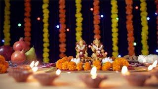 Tilt shot of a decorated temple of Hindu Gods Lord Ganesha and Goddess Laxmi for Diwali pooja