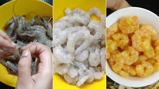 How to peel, de-vein, wąsh and store prawns for further use || How to clean small prawns in telugu
