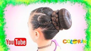 Peinado con Chongo/Dona con trenza de corazon/ 3 tipos de trenzas en 1/braided bun