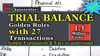 Trial balance in accounting (with 3 GOLDEN RULES) in English simple tutorial and easy to understand