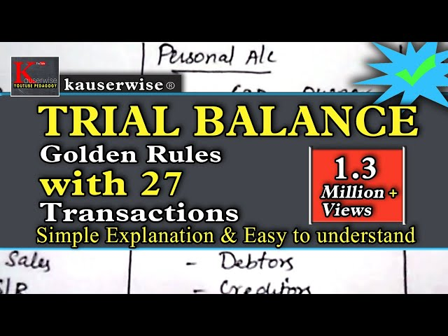 Trial balance in accounting with [ 3 GOLDEN RULES ]  simple tutorial :- by kauserwise