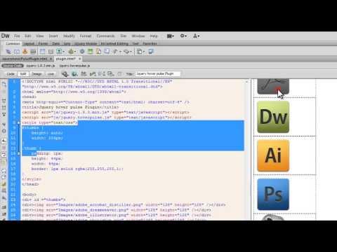 Dreamweaver Tutorial: JQuery HoverPulse Plugin Shrink grow effect