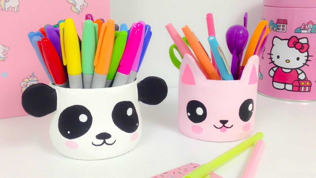Kawaii organizer room decor how to make a panda and a cat - Trabajos para hacer en casa de manualidades ...