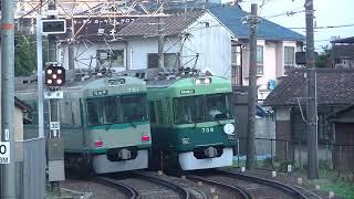 京阪700形の80系復刻塗装と旧塗装のすれ違い  京阪石山付近にて
