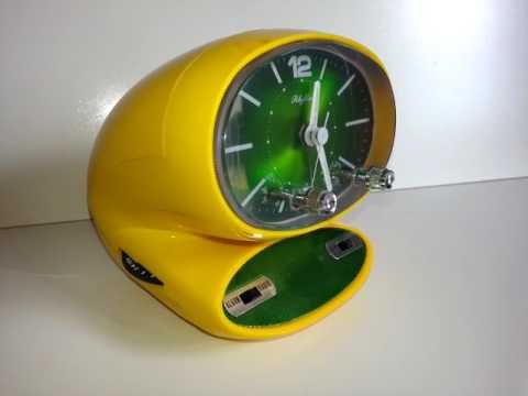 Radio reloj despertador Rhythm Vintage Space Age Amarillo