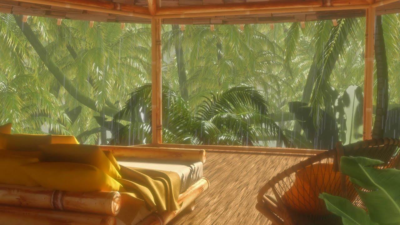 Rain Sounds for Sleeping in Rainforest Treehouse Bedroom 🌧️💤 Relaxing White Noise
