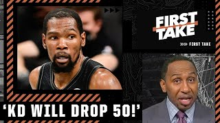 Stephen A. has high expectations for KD in Game 5: He will drop 50!   First Take