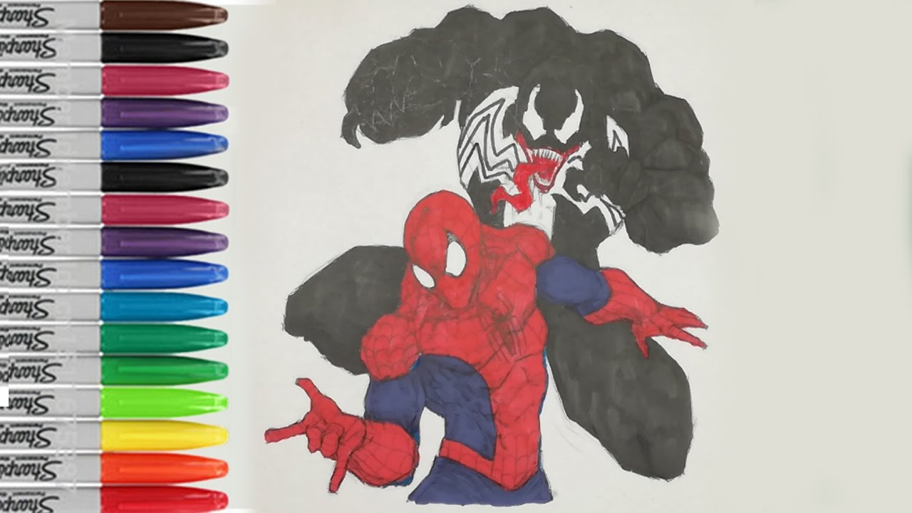 spiderman vs venom coloring pages spiderman fighting fun pages