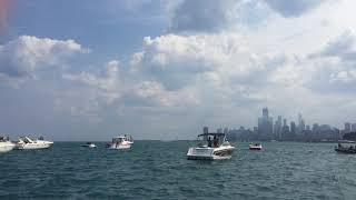 Blue Angels Buzz Boaters with best sneak pass at 2017 Air and Water Show. Crazy!!