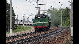 Встреча ветерана П36 0120 и новенького ЭП2Д 0016 на перегоне Манихино-1 - Новоиерусалимская.
