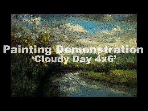 Cloudy Day 4×6 Tonalist Landscape Painting Demonstration