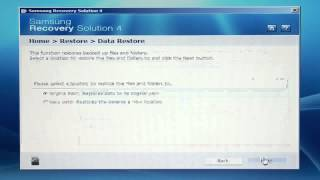 Samsung Recovery Solution 4 - Creating a Data Restore