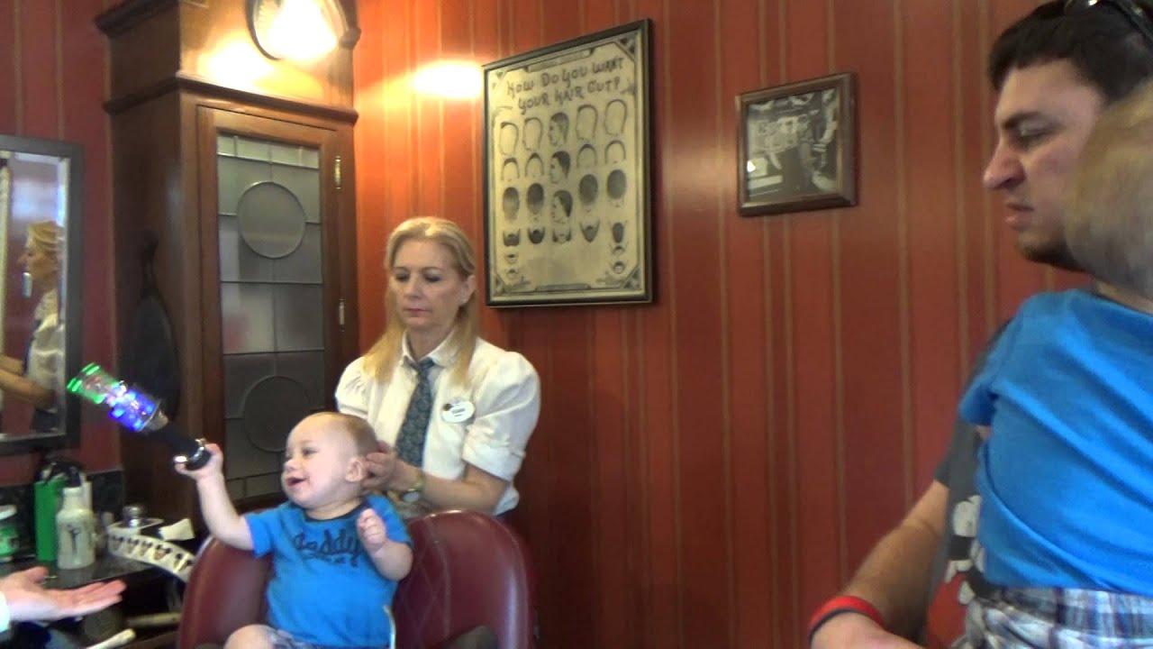 Braydens First Haircut At The Harmony Barber Shop At Walt Disney