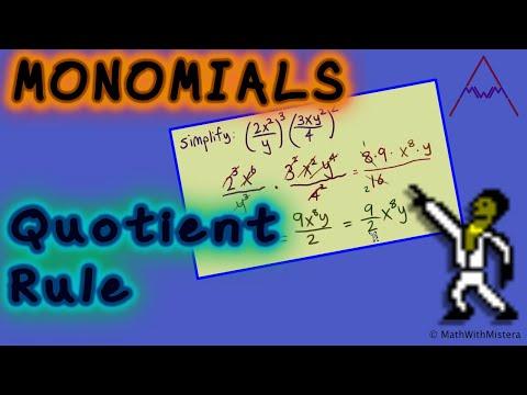 Monomials #4 - Quotient Rule (Dividing Monomials)