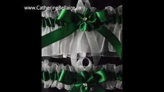 Emerald Green Wedding Garters. Thumbnail