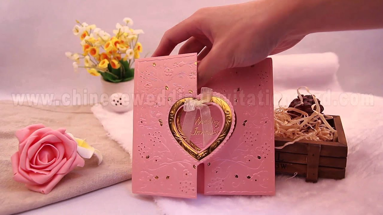 Traditional Pink Chinese wedding invitation card - YouTube