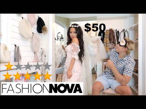 My BF Reacts To Fashion Nova Wedding Dresses + Rates Them