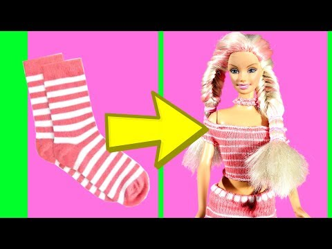 DIY Barbie Dresses with Socks Making Easy No Sew Clothes for Barbies Creative by Devlin Fox
