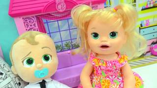 Training Babies - Babysitting The Boss Baby Talking Movie Doll + Baby Alive thumbnail