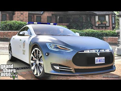 GTA 5 MODS LSPDFR 814 - TESLA PATROL!!! (GTA 5 REAL LIFE PC MOD)