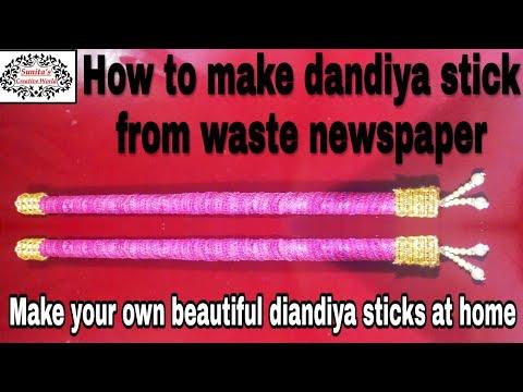 How to make dandiya sticks from waste newspaper by Sunita's Creative World.