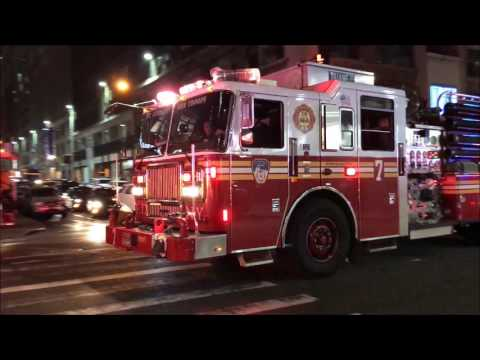 FDNY BOX 766 - VERY QUICKLY KNOCKED DOWN 10-77 HIGHRISE SHAFT FIRE ON 40TH STREET IN NYC.
