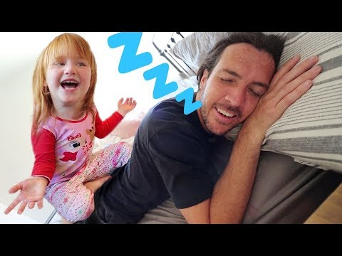 DAD WON'T WAKEUP!!  Asleep Morning Routine! Adley helps Dad get ready (Cereal and Bacon Dreams)