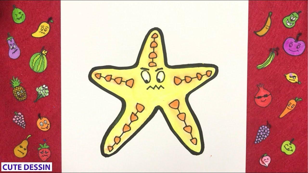 Comment dessiner et colorier une étoile de mer mignon facilement étape par  étape 32
