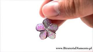 Srebrny wisiorek z różowym opalem syntetycznym - Biżuteria srebrna Diamento